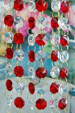 Red and Clear - Lead Glass Crystal - Octagon Chandelier - Prisms Chains