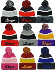 NEW DOPE 3D EMBROIDERY POM BEANIE SKULL CAP HIP HOP HAT MANY COLORS AVAILABLE
