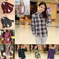2013 Women Button Down Lapel Shirt Plaids & Checks Flannel Shirts Tops Blouse TL
