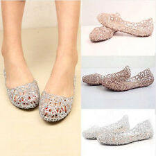 Womens Crystal Glitter Plastic Jelly Hollowed Flat Sandals Beach Pumps Shoes