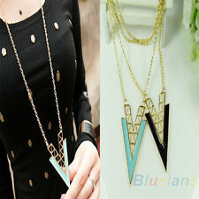 Occident Style Vintage V Shape Alloy Long Chain Triangle Necklace Pendant B53U