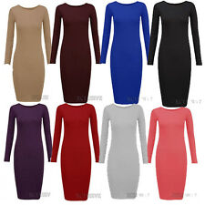 New Ladies Plus Size Long Sleeve Midi Bodycon Stretch Jersey Dress 16-22