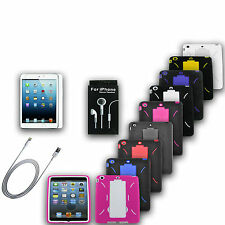 Armor Heavy Duty Stand Case Protector Cable Headset  Bundle For iPad Mini 1 2 3