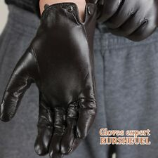 Mens GENUINE LAMBSKIN motorcycle driving POLICE leather gloves winter warm