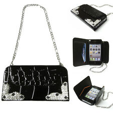 Black Diamond Bling PU Leather Snake Skin Purse Phone Case with Screen Protector