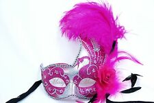 Fancy Dress Ostrich Feather Wedding Masquerade Mask Costume Prom Party Halloween