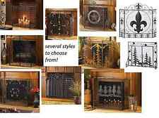 folding 3 panel WROUGHT IRON cottage hearth portable mesh fire fireplace screen