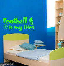 FOOTBALL IS MY LIFE SPORT BOYS ROOM WALL QUOTE VINYL ART STICKER COOL GRAPHIC