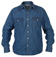 Superb Quality New Mens Duke Western Denim Shirt Blue
