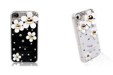 New Marc Jacobs Style White Daisy Bling Crystals Case Cover for Apple iPhone 5