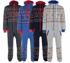 **New Unisex MENS/WOMENS Hooded Zip ONESIE TRIBAL Printed One Piece Jumpsuit**