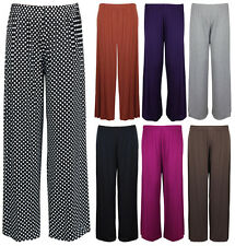 New Ladies Plus Size Palazzo Trousers Womens Baggy Wide Leg Stretch Pants 12-26