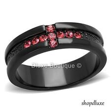 WOMEN'S RUBY RED CZ HOLY CROSS BLACK STAINLESS STEEL FASHION RING BAND SIZE 5-10