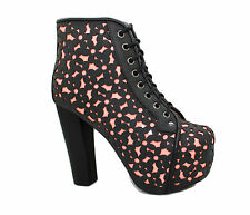 Hot New Jeffrey Campbell Black Lita Daisy Orange Glow Bootie Platform Heel Boots