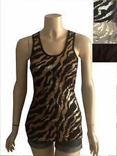 New women's zebra print sequin tank top cami black gold camel gray SML animal