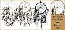 ~NATURAL FEATHER & BEADED WEB DREAM CATCHER~22cm Web~54cm Long~Wall Hanging~