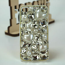 Luxury Handmade Crystal Diamond Pearl Heart White Case for iPhone 4 iPhone SE 5S