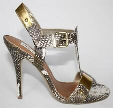 Womens Shoes Steve Madden REYA T-Strap Heels Sandals Gold Natural Snake