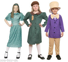 Girls Evacuee Costume WW2 Boys Factory Owner Willy Wonka Book Day School Costume