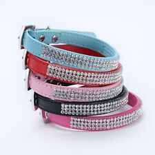 Small Pet Dog Cat Collar 3 Rows Bling Rhinestone PU Leather Buckle Crystal XS-L