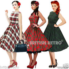 British Retro Swing Tartan Dress 3 Colours *Vintage 50s Rockabilly Party Pin-Up*