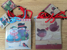 MINI GIFT BAG SET OF 5 CHRISTMAS HOLIDAY WINTER BROWN PAPER RUSTIC VINTAGE LOOK