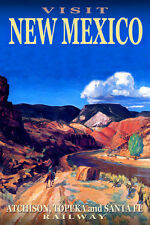 NEW MEXICO Santa Fe Railway New Original Travel Poster -in 3 sizes-Art Print 073