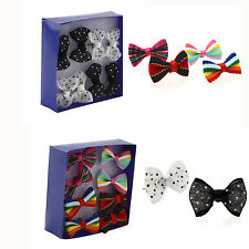 4 Pairs Of Fashion Multi Color Ribbon BOW Tie Bowknot Girl Ear Stud Earrings