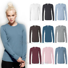 Bella Ladies Thermal Knit Long Sleeve T-Shirt S-2XL Irene Womens Top 8500