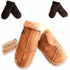 Nordvek Womens Real Sheepskin Mittens Gloves Fur Trim Leather Ladies New 308-100