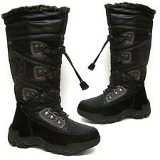 GIRLS SCHOOL BOOTS FLAT WINTER SNOW ANKLE MID CALF BIKER BLACK PARTY SHOES SIZE