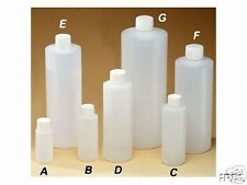 16 oz Plastic Cylinder Round Bottles w/Caps (Black or White) #50