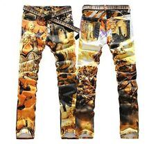 New Men Italy Style Fashion St Maria Color Painted Print Jean Size 28-40 (#T001)