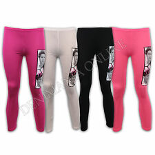 GIRLS LEGGINGS KIDS TIGHTS ONE DIRECTION 1D PRINT PANTS NEON ANKLE STRETCH PARTY