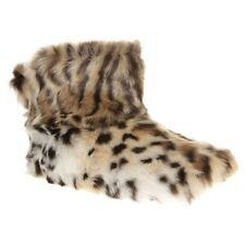 New Womens Ruby And Ed Natural Multi Fur Boot Textile Slippers Slip On