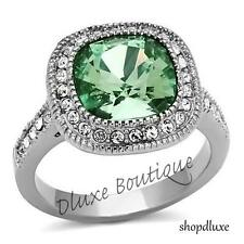 Women's Halo Cushion Cut Emerald CZ Stainless Steel Engagement Ring Size 5-10