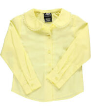 French Toast Little Girls' L/S Blouse with Lace Edging (Sizes 4 - 6X)