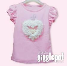NEW /TODDLER/INFANT/GIRL WHITE HEART PINK TEE/T-SHIRT/TOP PINK