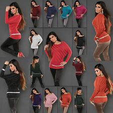 Sexy New Pullover Women Jumper Stripe Off Shoulder Batwing Style Top 6/12 Size