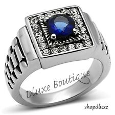 MEN'S ROUND CUT BLUE MONTANA AAA CZ SILVER STAINLESS STEEL RING SIZE 8-13