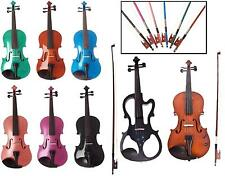 Archetto Violin Outfit - Matching Bow & Case - Various Sizes & Colours