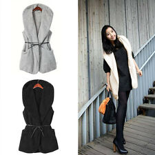 Fashion Oversized Faux Lamb Fur Long Hooded Vest Jacket Coat With Belt