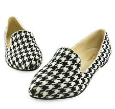 Lovely White/Black Houndstooth Comfortable Women Shoes Lady Flats