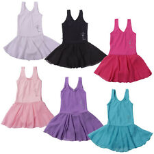 Girls Gymnastics Dance Dress Kids SZ 2-14Y Ballet Tutu Leotard Chiffon Skirt New