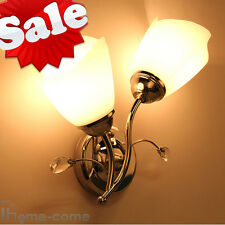 Crystal Glass Shape Single/Double Wall Light Lamp Sconce Lighting Living