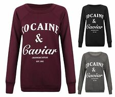 Womens Ladies Cocaine Caviar Print Jumper Pullover Dope Sweatshirt Top T-Shirt