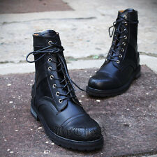 ByTheR Wingtip Combat Faux Leather Boots Military Black Modern SFSELFAA0017173