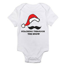 STACHING THROUGH THE SNOW - Mustache / Santa / Christmas Themed Baby Grow/Suit