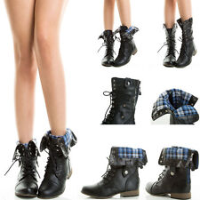 Fold Over Plaid Cuff Contrast Color Zipper Lace Up Flat Military Combat Boots US