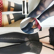 Sexy black mock fake suspender stockings tights pantyhose Stockings legging knee